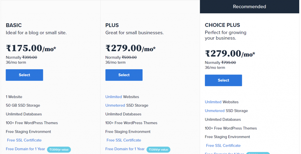 bluehost indian prices